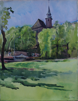 Ajit De - OslobildeI - Akvarell