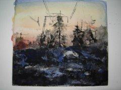 Lars Lerin - Kraftgate - koldnål med akvarell