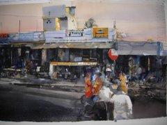 Lars Lerin - Benares Indien - akvarell