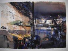 Lars Lerin - Benares Indien 2 - akvarell