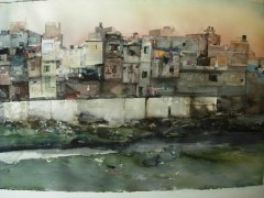Lars Lerin - New Dehli - akvarell