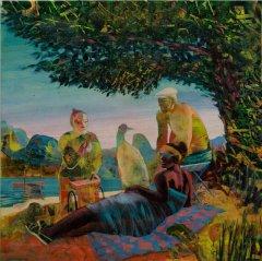 Peter Esdaile - The Vendor - akryl på lerret