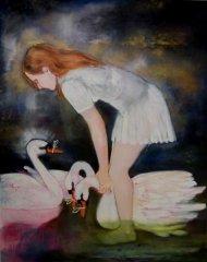 Therese Nortvedt - Swanlake II - olje på lerret