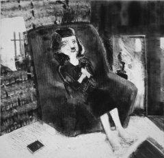 Gro Hege Bergan - Kattekvinne - monotypi