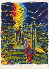Frans Widerberg - Magiker - håndkolorert litografi