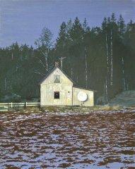 Arne Samuelsen - Billmrk. landlige omgivelser - Olje på lerret